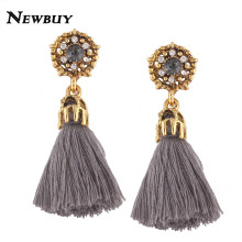 NEWBUY 2017 New Fashion Tassel Earrings Handmade Trendy Women Wedding Statement Earrings Wholesale Fringed Earrings(China)