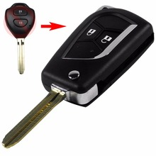 2 Button Blank Modified Flip Folding Key Shell for Toyota Camry Corolla Hilux Prado Alarm Fob Case With Logo