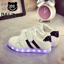 Eur25-30 // Glowing sneakers Usb charging shoes do with Lights Up colorful Led tenis Kids Luminous sneaker boys&girls(China)