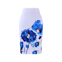 2017 stylish girls pencil skirts lady midi saias female faldas mujer women bottoms blue flower print clothing wholesale