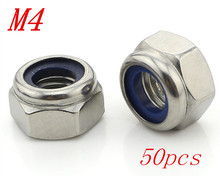 Metric M4 304 Stainless Steel Hex Head Nylon Insert Lock Jam Stop Nuts 50pcs/Lot Free Shipping(China)