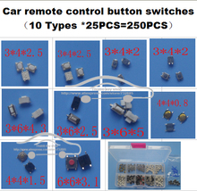 10 models * 25PCS Tactile Push Button Switch Micro Switch Car remote control button switches For Honda Hyunda VW Peugeot Toyota