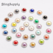 Free shipping 16mm pearl crystal rhinestone buttons wholesale flatback can mix colors 100PCS/lot(BTN-5033)