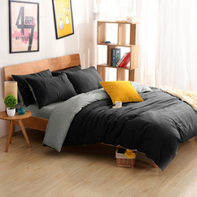 Bedding Sets King size Bedding Duvet Cover Set bed Linen Russia USA Size,Quilt cover set Plain Color bedclothes Black Gray White(China)