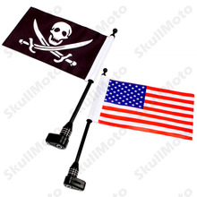 Motorcycle Parts Black Rear Luggage Rack Mount Flag Pole with USA And Skull Flag Kit For Harley Dyna Electra Glide CVO UNDEFINED