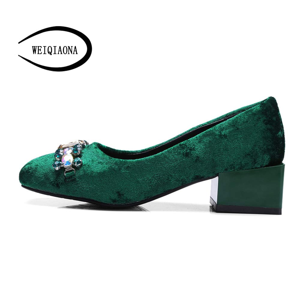 WEIQIAONA New Woman Sexy Luxury Diamond Gold velvet Thick heels Shallow  Square head Comfortable mid heel Womens shoes pumps<br>
