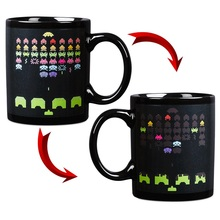Free Shipping 1Piece Space Invader Ninjaand Gun Shaped Ceramics Coffee Mug Reveal Heat Sensitive mug Home Decoration Or Drink