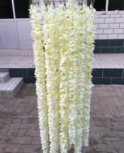 Unique Design Wedding Backdrop Decoration Orchid Flower Silk Wisteria Vine White Artificial Wreaths Shooting Photo Props(China)
