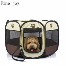 Fine joy Portable Folding Pet Tent Dog House Cage Dog Cat Tent Playpen Puppy Kennel Easy Operation Fence outdoor supplies(China)
