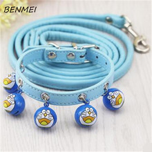BENMEI Dogs Adjustable Collar Bell PU Leather Cat Supply Collars Pet Neck Strap Collars Necklace Walking Dog Leads Accessorie