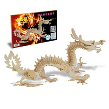3D Wooden Puzzle Toys for Children 3d Dragon Phoenix Horse Model Puzzle Kids Toys Early Brain Development jIgsaw Puzzle Boy Gift(China)