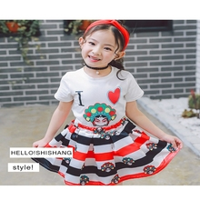 2017 summer baby girl suit Fashion Print pictures stripe child Black and white T-shirt plus short skirt H60053(China)
