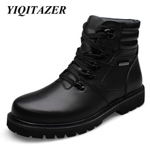 YIQITAZER 2017 Cow Muscle Soles Genuine Leather Shoes Man Military Boots,Winter Mans Ankle Amry Boots Snow Shoes Plus Size 48(China)