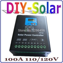 100A Solar Charge Controller,110V or 120V Battery Regulator 100A for 12KW PV Panels Modules,LED&LCD Display,Dual-fan cooling