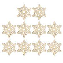 1Christmas Ornaments Wooden Hanging Snowflake Xmas Decorations Hemp Ropes - Shenzhen ZHCX Company store
