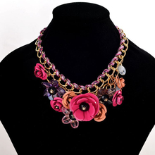 Colored Flower Simulated Gemston Necklaces & Pendants Rope Weave Chain Statement Necklace Women Collares Trendy Jewelry for gift
