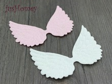 jusHomey 100pcs 10cm Large Glitter Angel Wing Appliques Single Sided Glitter Fabric Cupid Wings Cut Outs Scrapbook Party Decor