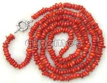 Super Long 32 inch 8-10mm Natural Red slice Coral Necklace -5809 Wholesale/retail Free shipping