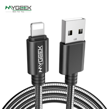 MyGeek Stainless Steel Case USB Cable For iPhone 5 s 5s 6s 6 7 Plus Mobile Phone cable Data Sync Charger Metal Wire for ios 9 10