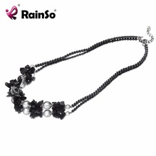 Rainso Fashion Healthy Hematite Necklace Hematite Pendant Fashion Bohemia Black Round Beads Necklace Jewelry Promotion Wholesale