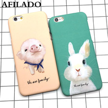 Fashion Cute Cartoon Pig Rabbit Hard Matte Plastic Back Cover for IPhone 5 5s 6 6s plus Cases Ultra Thin Phone Shell Capa Coque(China)