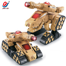 New Infrared Battle Dinosaur Tank Cannon And Emmagee Remote Control Tank Fort Rotate Fighting RC Deformation Army Tank