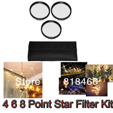 1pcs/lot 62mm 4 6 8 Point Star Filter Kit  4X 6X 8X Star Filter KIT SET with FREE CASE for DSLR DC lens FOR CANON NIKON PENTAX