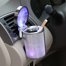 PITILLERA Automobile Ashtray, Air Outlet Car Hanging Ashtray General Send Clip Colorful Light Battery Buick Peugeot Benz BMW(China)