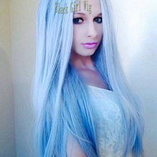 Cheap Long Silky Straight Light Blue Heat Resistant Fiber Synthetic Lace Front Wig Glueless With Baby Hair For Fashion Women