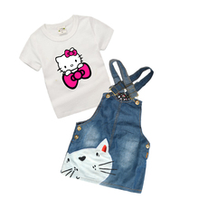 0-6 Years Baby Girls Denim Dress Summer Latest Toddler Girls Clothing Set for Kids Boutique Children Clothing Hello Kitty Z28(China)