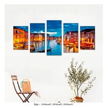 5 Pieces Painting Venice Italy Gondola Grand Canal Blue City For Living Room Decoration