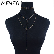 MFNFYH Long Tassel Multilayer Chains Choker Necklace Women 2017 Fashion Gold Silver Color Sequins Chocker Necklace Jewellery