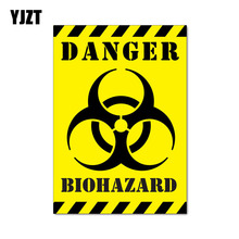 YJZT 12CM*17.1CM Car Sticker Funny DANGER BIOHAZARD ZOMBIE Reflective Decal C1-7550(China)