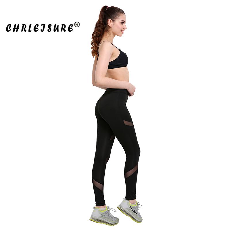 CHRLEISURE Sexy Women Leggings Gothic Insert Mesh Design Trousers Pants Big Size Black Capris Sportswear New Fitness Leggings 16
