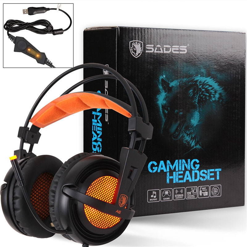 SADES A6 gaming headset 7.1 Surround sound usb headset gamer Gaming Headphones with microphone LED Light for computer pc laptop<br>