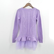 [GUTU] 2017 Spring Autumn Fashion Large Size Korean Round Neck Long-sleeve Ruffles Hem Mesh Spliced Sweater Women AS29880