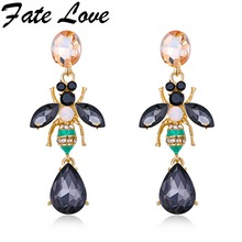Fate Love Hot Buy New Design High Quality Elegant Gold/White Color Delicate Rhinestone Crystal Earrings Insect Bee Jewelry FL711(China)