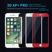 for iPhone 7 & iPhone 7 Plus Nillkin AP+ Pro Red Full Cover Tempered Glass Screen Protector 9H Hard Full Screen 3D Touch Glass