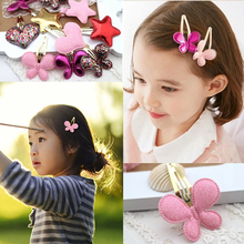 Hot Sale 1 Pc Kids Girls PU Barrettes Butterfly Hearts Stars BB Hair Clip Hair Accessories 3 Colors(China)