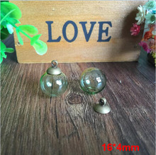 Free shipping 50sets per lot 16mm Green glass globe orbs with 4mm hole and 8mm bronze cap jewelry findings set Glass bottle vial