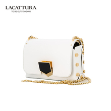 A1332 2017 LACATTURA Brands cow leather belt Shoulder bags women pyramid hasp bags handbags famous brands hapsady's makeup bag(China)