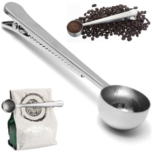 Hot New Silver Stainless Steel Ground Coffee Milk Powder Measuring Scoop Spoon With Bag Sealing Clip