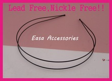 10PCS Black 1.2mm Double Wire Plain Metal Hair Headbands with 3mm ball beads end at nickle free and lead free,BARGAIN for BULK(China)