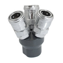 One to Three 3 Way Pass Air Pneumatic Quick Coupler Joint Adapter 12mm Female Thread