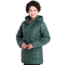5XL Plus Size Woman Winter Jacket Coat Medium Long Style Padded Coat Thicken Warm Hooded Parkas Mother Winter Outerwear SS885