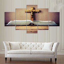 Painting Modular HD Printed Canvas Poster 5 Panel Holy Bible And Crucifix Art Frame Home Decoration Living Room Wall Pictures(China)