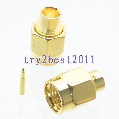 50pcs Connector SMA plug pin solder RG402 0.141 Semi-rigid cable Straight<br>