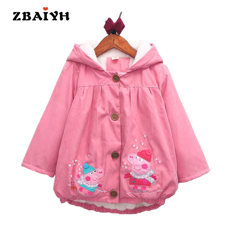 Girls Coat Thicken Jackets for Girls Kids Winter Clothes Cartoon Embroidery Hooded Windbreaker Children Clothing Baby Outerwear<br>