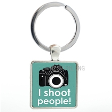 Camera square keychain men women Photographer jewelry I Shoot People Photography pendant key chain ring holder AA65(China)