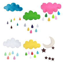 Hanging Wal Edtoy Baby Bed Room Decor Sticker Kids Play Tent Tent Decoration Props Toys Raining Clouds Water Drop Star Moon(China)